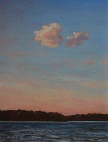 "Evening Cloud, Lake Gaston, 2015 Pastel, 14.5"" x 12"" framed by Christine S. Berndt"